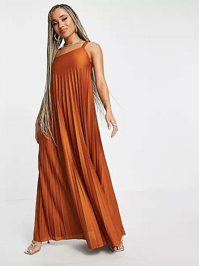 Rust colored one-shoulder pleated maxi formal fall wedding guest dress