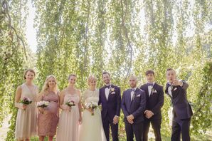 Summer Wedding Party in Navy and Blush