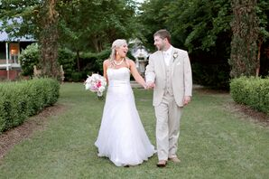 A-Line White Wedding Dress With Fitted Bodice