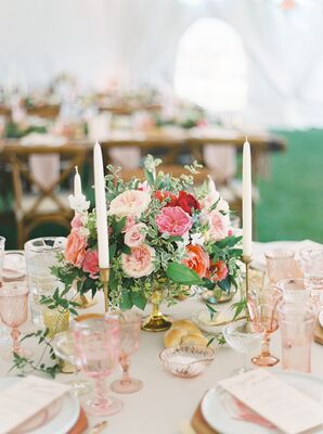 Place Settings with Taper Candles, Pink Accents and Vintage Glassware