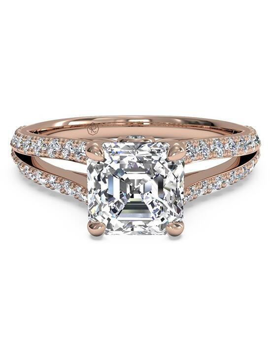 Ritani Double French-Set Diamond 'V' Engagement Ring with Surprise Diamonds - in 18kt Rose Gold (0.24 CTW) for a Asscher Center Stone Engagement Ring photo