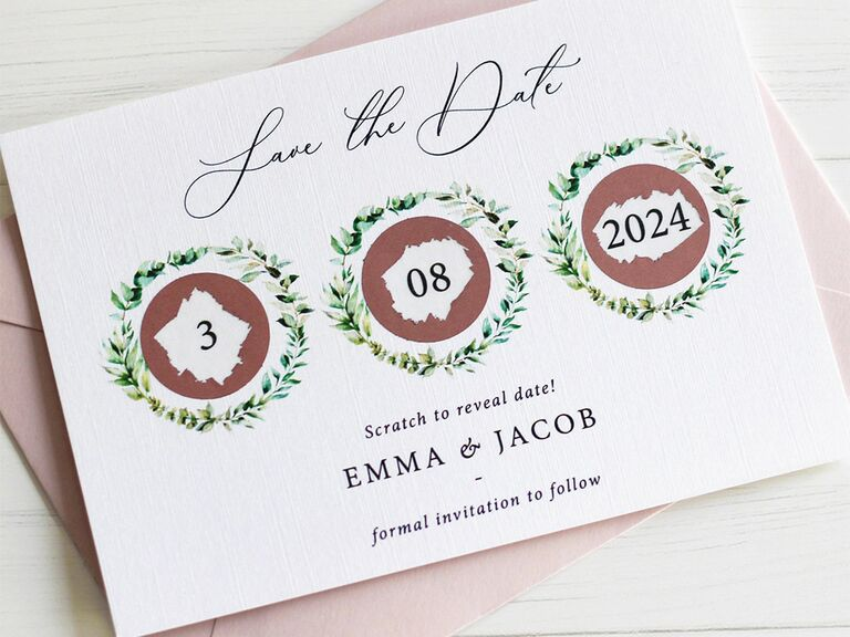 Scratch off bubbles with wedding date info and wreath border on white background
