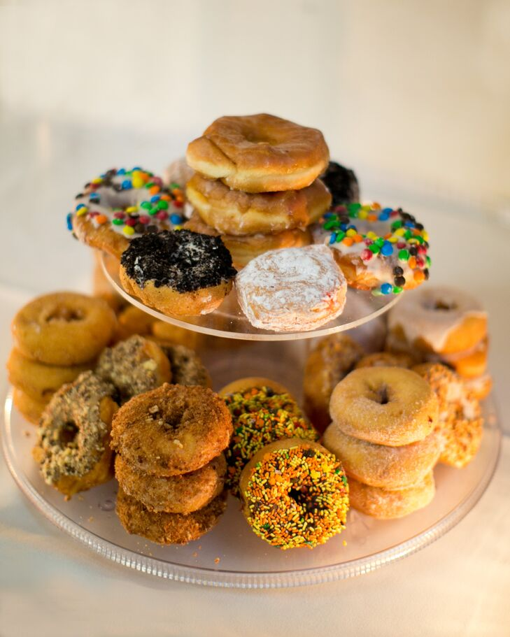 In lieu of a traditional wedding cake, Matt and Paul had a donut tower with treats from local bakery, Jerry's Cake and Donuts, which they served after a formal dinner of pork loin and filet mignon.