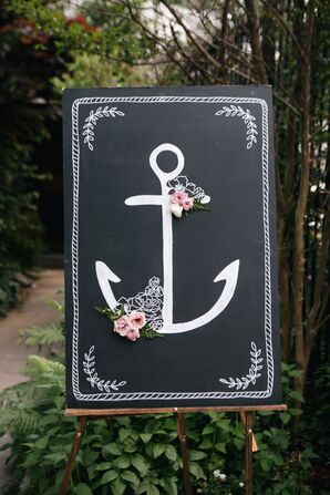 Chalkboard Sign With Anchor and Flowers