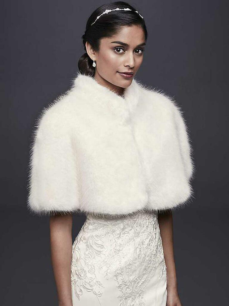 Faux fur white wedding shrug