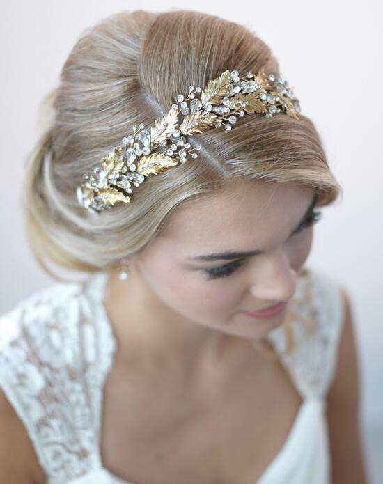 USABride Botanical Leaf & Crystal Gold Headband Wedding Headbands photo