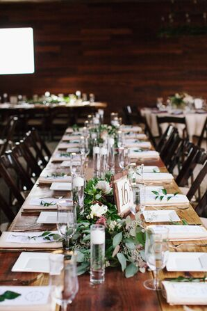 Elegant Ranch Tables Settings with Greenery