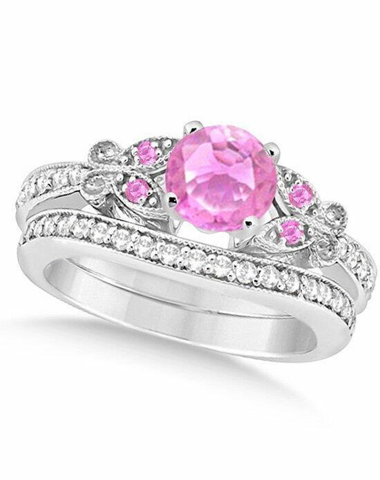 Allurez - Customized Rings Butterfly Pink Sapphire & Diamond Bridal Set 14k White Gold 1.50ct Engagement Ring photo