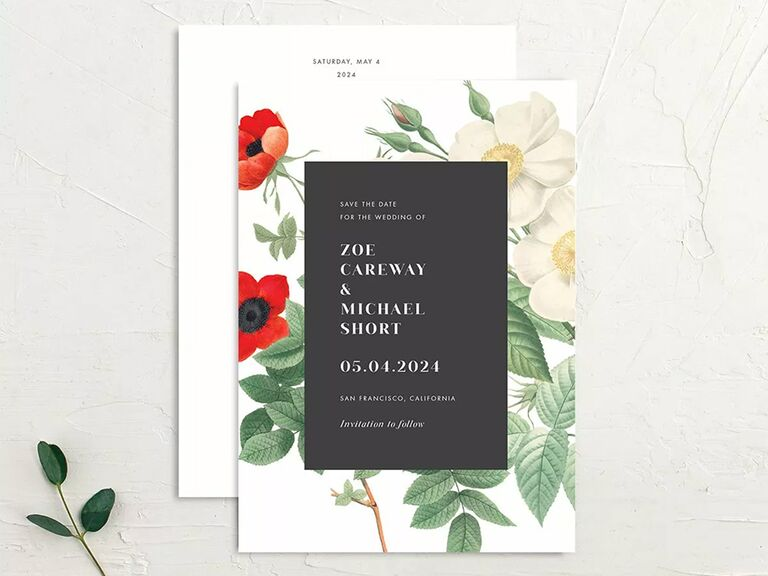 Bold white type on black rectangle with red and white anemones on white background