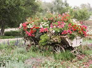 Wooden Wagon Filled With Flowers