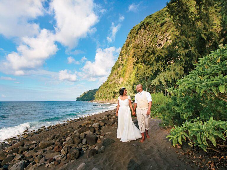 Bride and groom destination wedding portrait in Hawaii