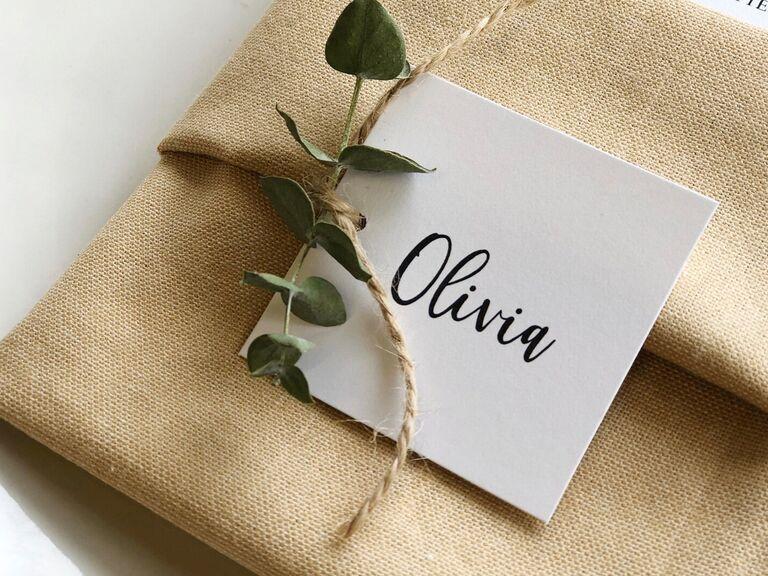 wedding place cards square design
