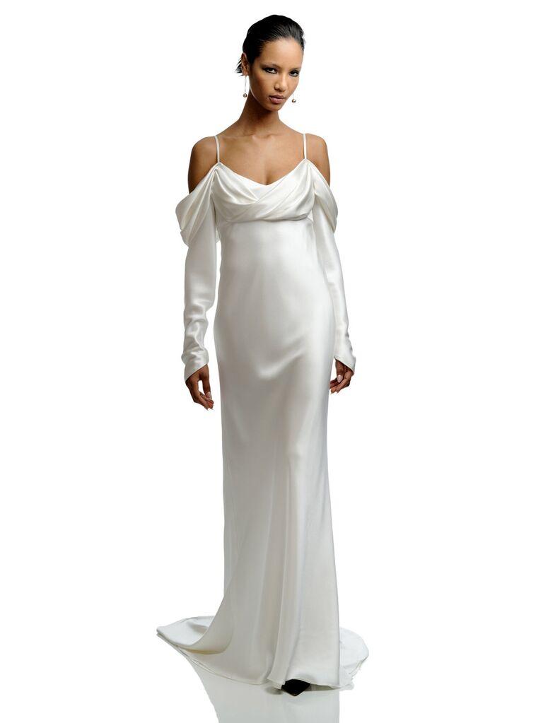 elizabeth filmore lụa-satin trắng trơn trễ vai váy cưới trễ vai với tay áo dài và váy bồng bềnh váy cưới màu trắng đẹp