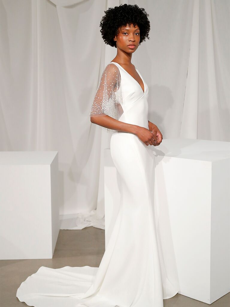 Fit-and-Flare Wedding Dress with Cape Sleeves