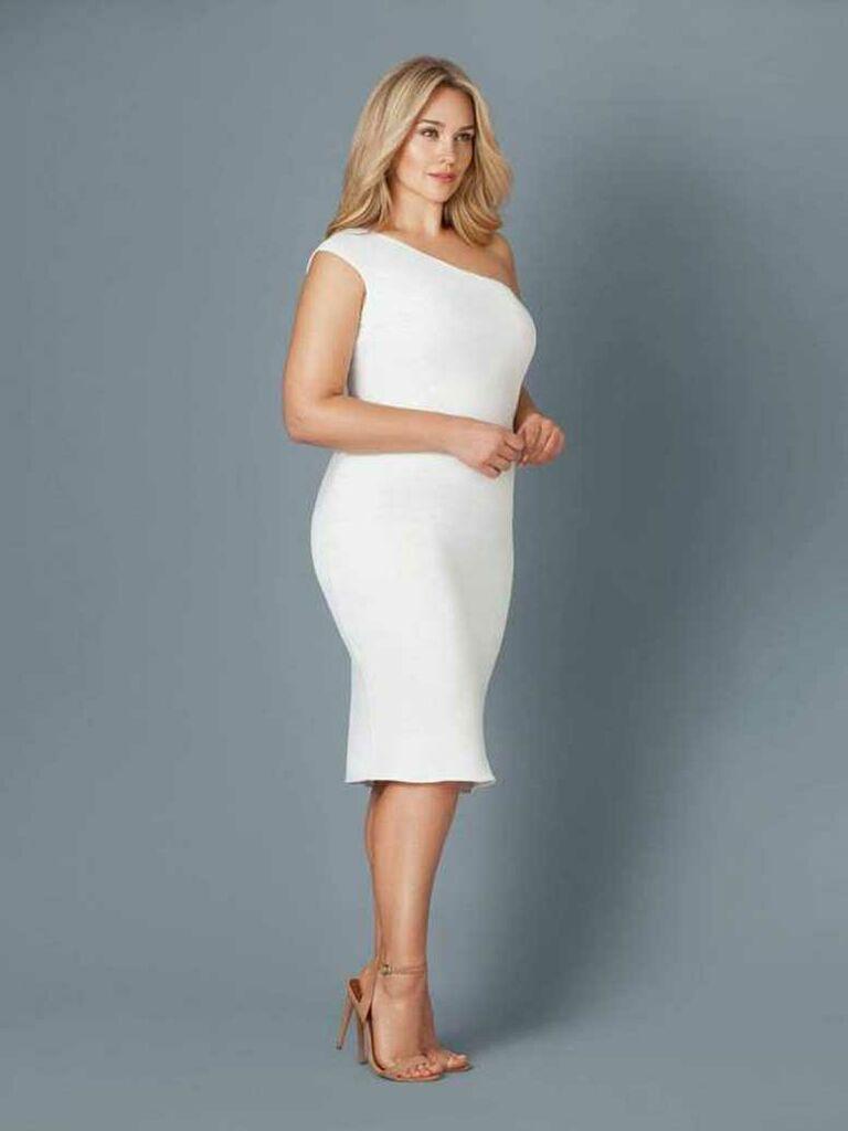 Short simple wedding dress with one shoulder