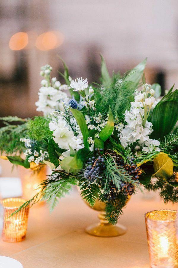 Green-and-white wedding centerpiece