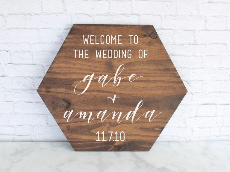 Geometric wooden wedding welcome sign