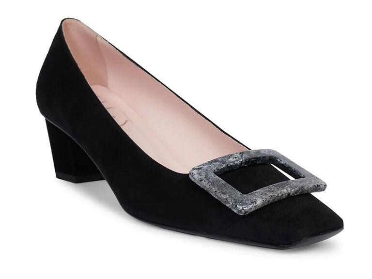 saks fifth avenue black mother of the groom pumps with buckle