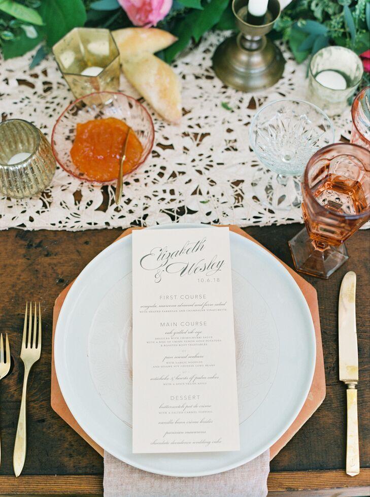 Formal Menus and Vintage Glassware