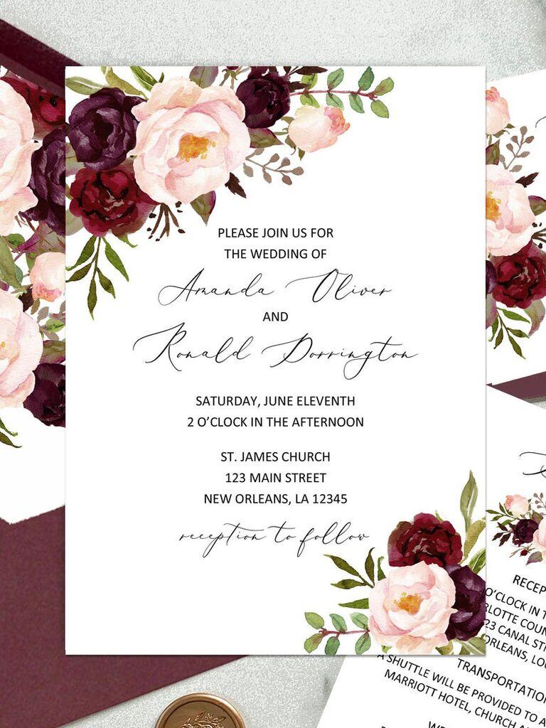 Blush and burgundy floral motif affordable wedding invitation
