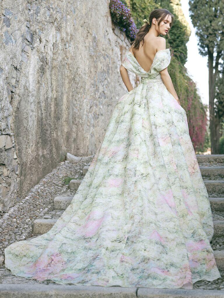 Floral Print Ball Gown Wedding Dress