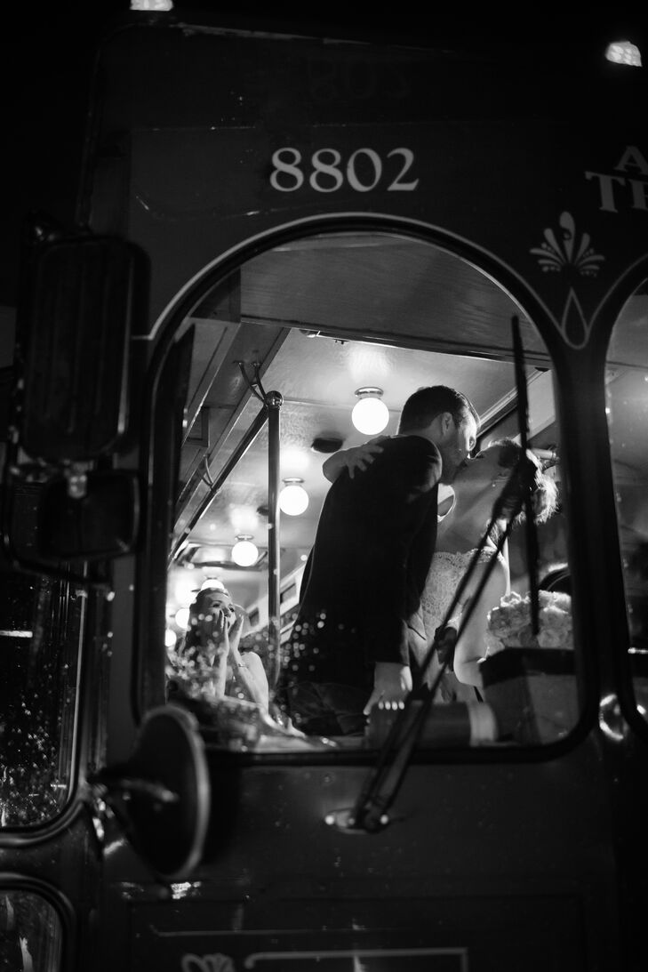 After celebrating with dinner and dancing, San Antonio natives Alicia and Ian and their friends boarded a trolley and headed to an after-party.