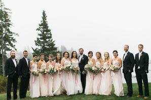 Pale Pink Bridesmaid Dresses with Navy Groomsmen Suits