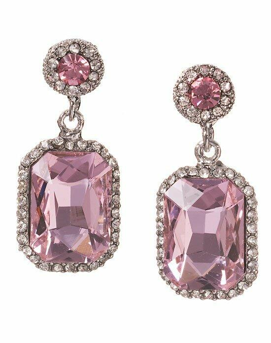 Anna Bellagio Serena Art Deco Rose Pink Drop Earrings Wedding Earrings photo