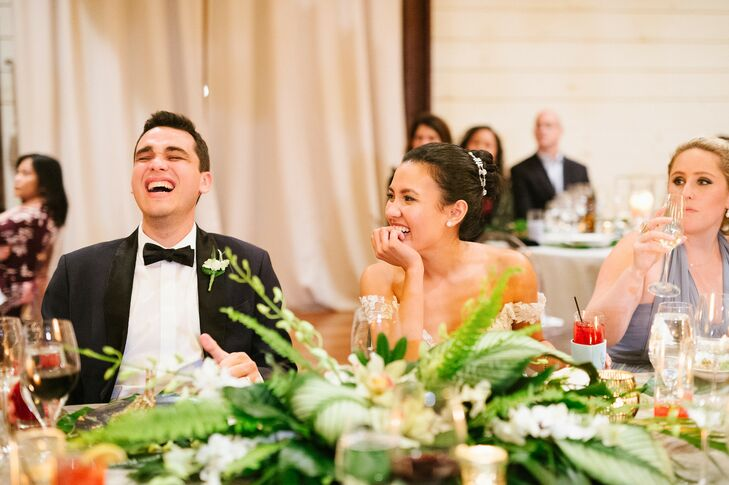 Couple Shares Laugh During Reception at Pippin Hill in Charlottesville, Virginia