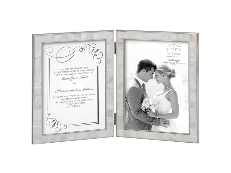 wedding invitation and photo frame gift to bride