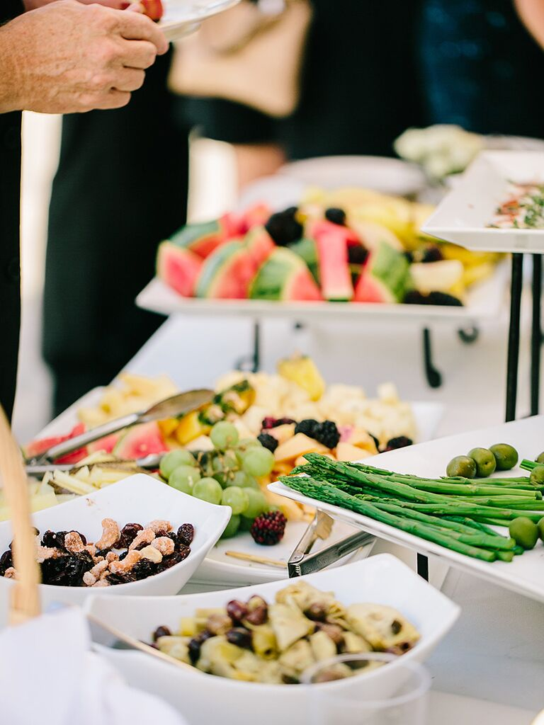 Fresh fruit and cheese appetizer bar idea for wedding reception food
