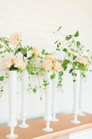 Tall White Milk Glass Vases with Peach Roses