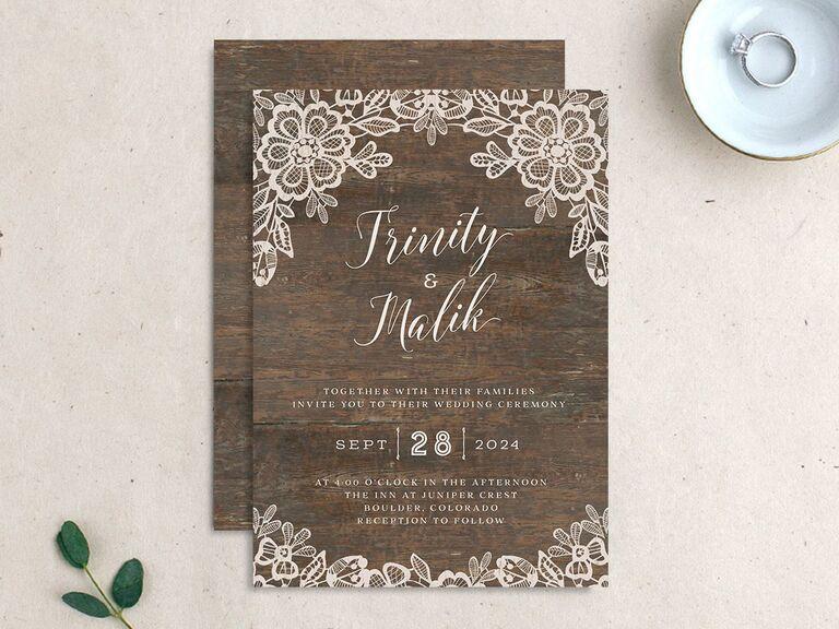 Woodgrain and lace fall wedding invitation