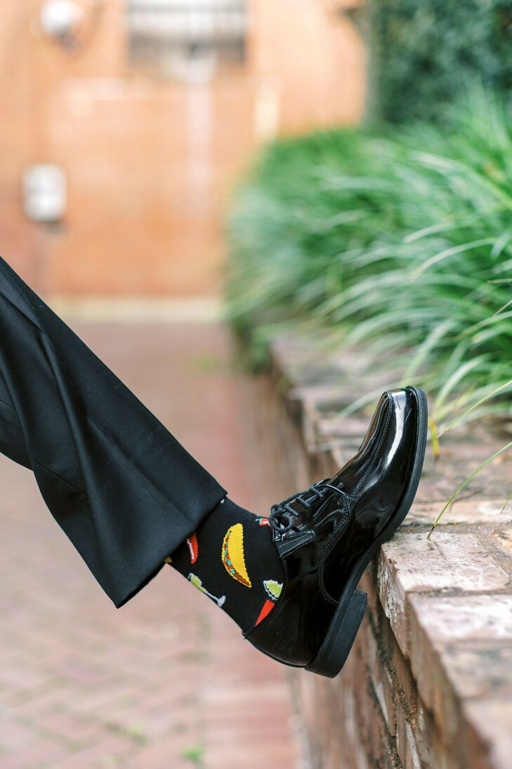 Groom Wearing Taco Socks for Wedding at 701 Whaley in Columbia, South Carolina