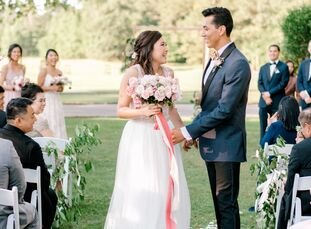 EricaChung and Emmanuel Corral's elegant wedding day revolved around a modern garden theme and a subtle take on the Chinese yin and yang philosophy.
