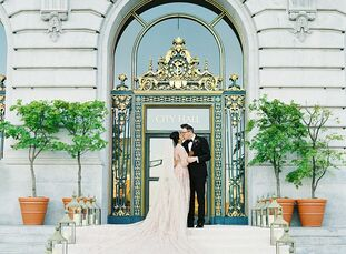 """San Francisco native Salima wanted a classic San Francisco wedding for her celebration with Matthew. """"San Francisco City Hall is such an iconic part o"""