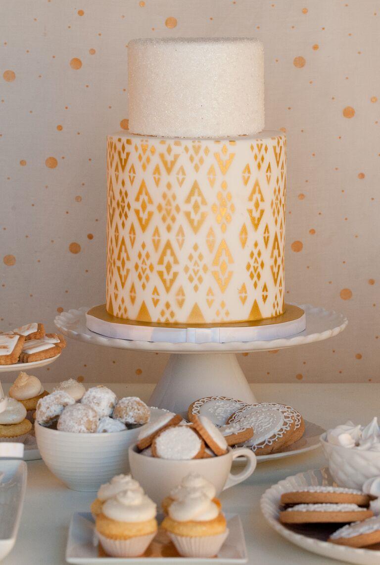Metallic gold ikat print bridal shower cake