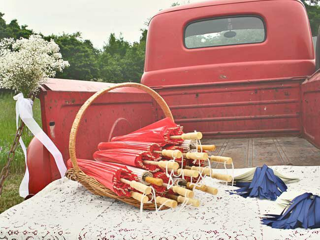 Red White Blue Parasol Favors In Truck At Outdoor Wedding