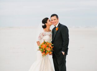 """After saying """"I do"""" at the stunning Basilica Shrine of St. Mary in Wilmington, North Carolina, Amanda Gettier (a nurse in the surgical ICU) and Alex T"""
