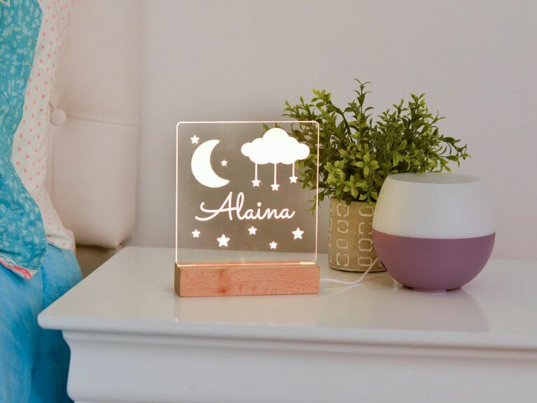 moon and stars night light with name