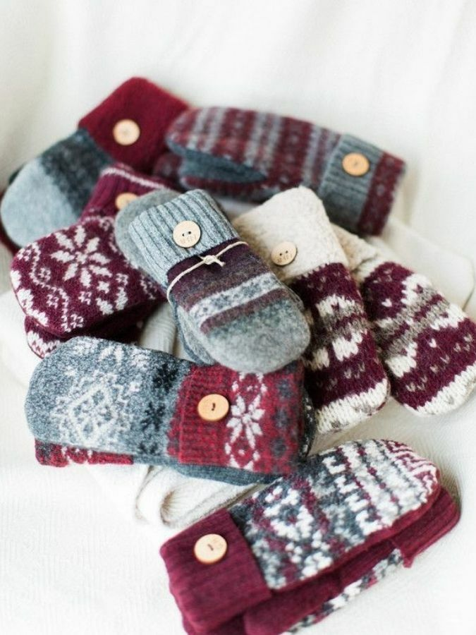 pile of knit winter mittens