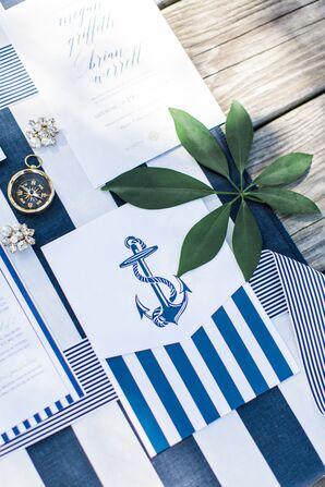 Nautical Wedding Invitations with Anchor Illustration