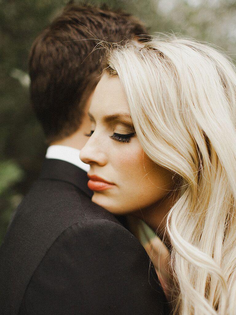 Dark brown smokey eye wedding makeup