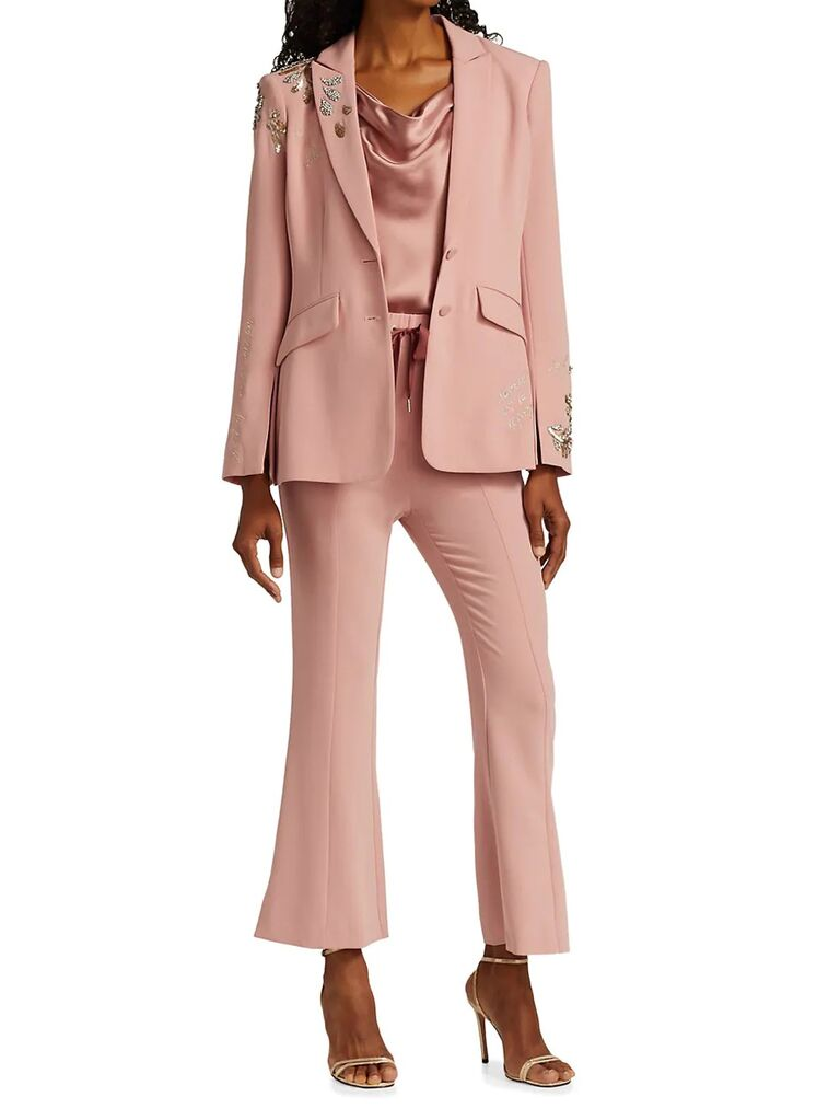 saks fifth avenue light pink mother of the bride pant suit