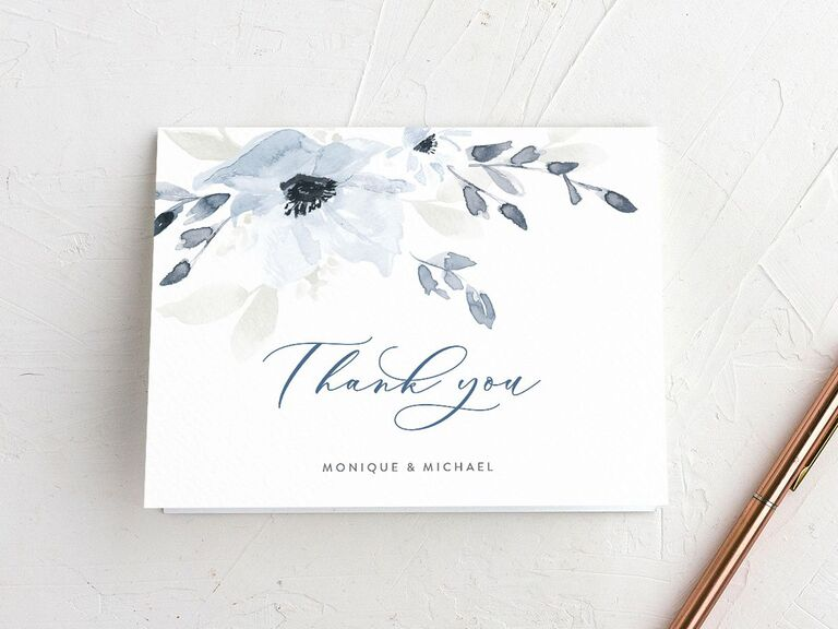 Muted blue floral wedding shower thank-you card