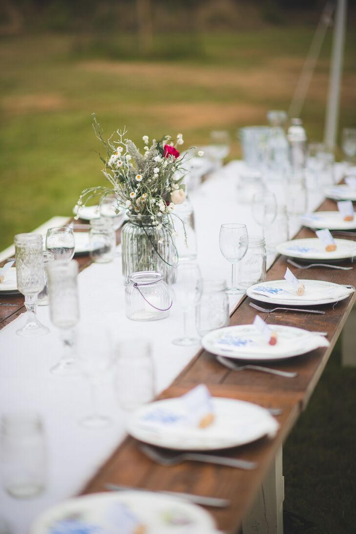 Wooden Farm Table With White Runner
