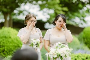 Bridesmaids Crying During Ceremony at Eolia Mansion in Waterford, Connecticut