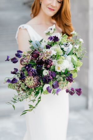 Dramatic, Whimsical Bouquet with White and Purple Flowers