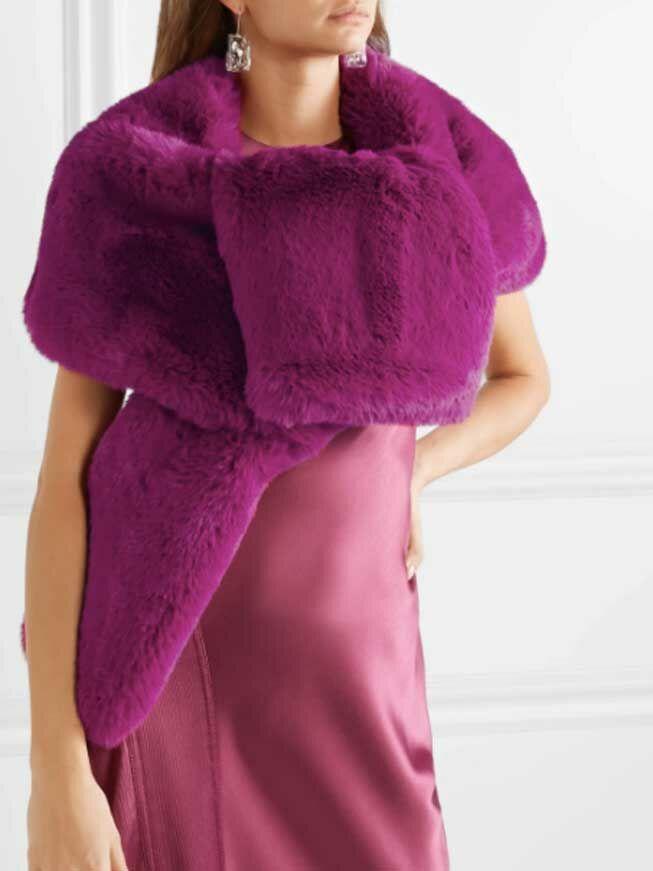 Magenta faux fur wedding shawl