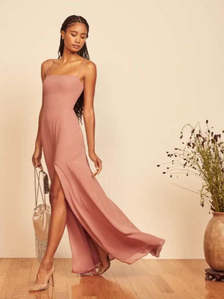 Dusty pink formal fall wedding guest dress with square neckline and straps